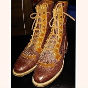 Vintage Justin Two Toned Roper Kiltie Boots 6